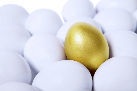 Golden egg standing out from other white eggs Stock Photo - 17573372