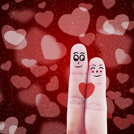 happy valentine s day: Finger gesturing like a couple on red heart shape background