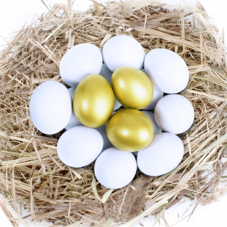 priceless: Three golden eggs inside a nest, surrounded by white eggs