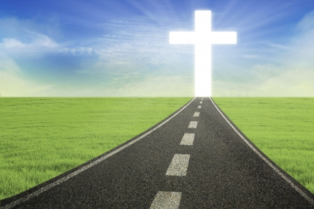 Bright Cross on the road, horizontal photo