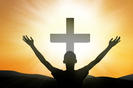 arms raised: Christian worshipper standing at the crosso on yellow background