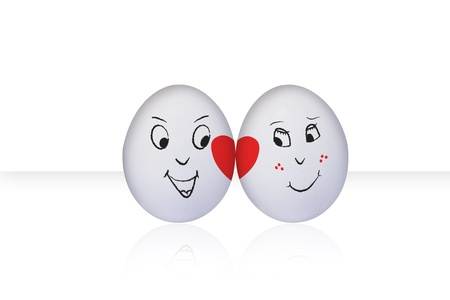 Flirting eggs in love, isolated on white background photo
