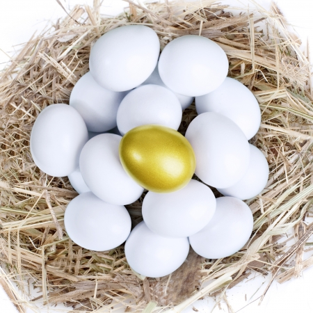 priceless: Golden egg inside a nest together with common white eggs, isolated on white