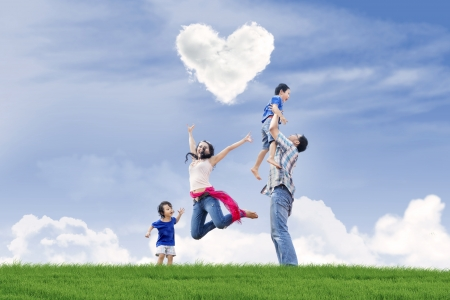 Happy family enjoying Valentine photo