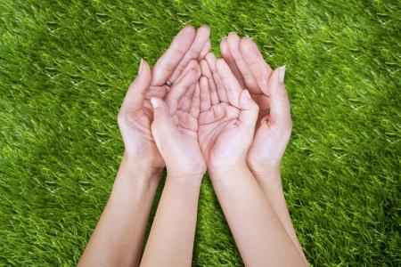 mujeres orando: Mano abierta de la madre y el niño al aire libre en la hierba verde