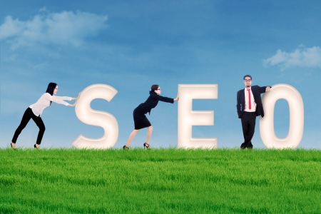 backlink: Business people pushing SEO letter on grass under blue sky
