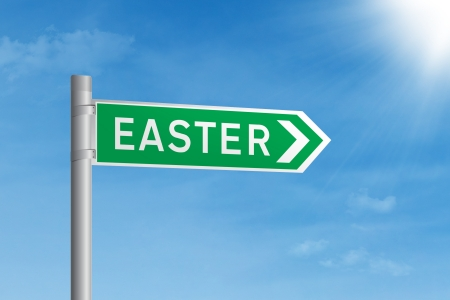 Green Easter road sign on blue sky Stock Photo - 17933862