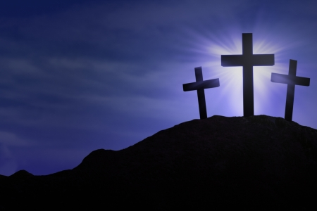 religious celebration: Silhouette of three crosses on blue background