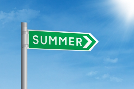 Summer road sign under bright blue sky Stock Photo - 17933863