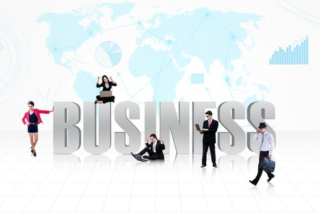 expressing positivity: Business people surround the word BUSINESS on world map background Stock Photo