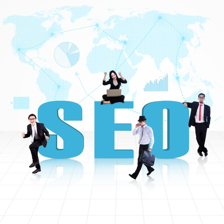 SEO  Search Engine Optimization  with business people surround it Stock Photo - 18020578