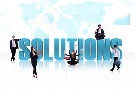 Business people with the word solutions on world map background photo
