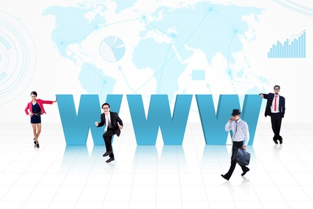 Business people surround www text on world map background Stock Photo - 18024432