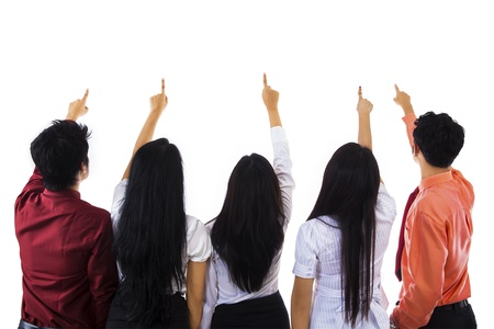 Five business people pointing at something on white background Stock Photo - 18068153