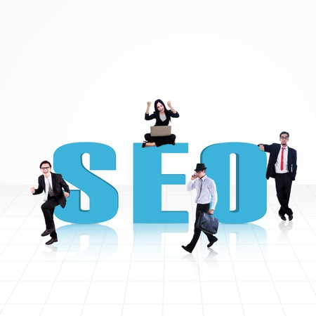 SEO (Search Engine Optimization) word surround with business people on white Stock Photo - 18068140