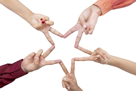 Five hands making a star shape on white background Stock Photo - 18092608