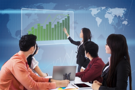 upward graph: Business meeting with presentation and profit bar chart on blue world map background