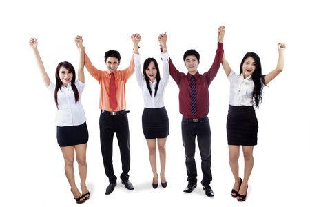 Group of five business people raised their hands in victory, isolated on white Stock Photo - 18196204