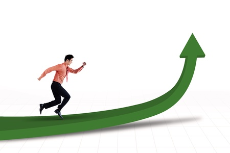 business goal: Businessman is running toward the goal on white background