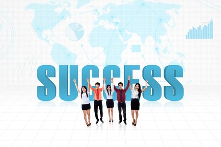 Illustration of success achieved by global team on world map background Stock Illustration - 18230302