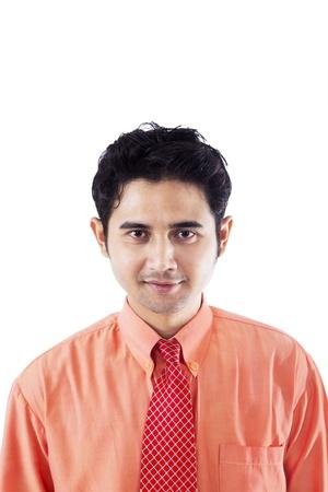 foto carnet: Retrato de hombre de negocios conf�a en el fondo blanco