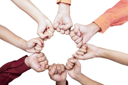 creative strength: Close-up of hands gesture unity on white background Stock Photo