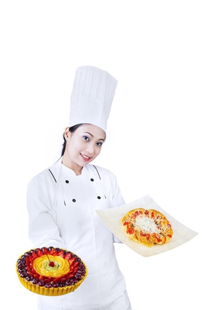 chefs whites: Asian chef is serving pizza and fruit dessert on white background