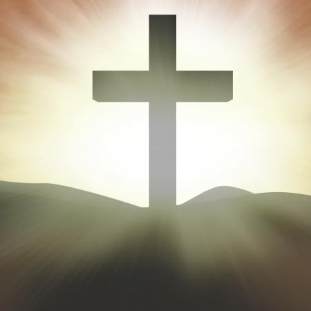 cruz religiosa: Silueta de la señal de la Cruz sobre fondo naranja brillante