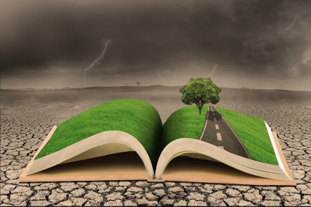business symbols metaphors: Book of environment on a draught land Stock Photo