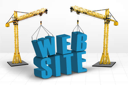 Building website concept, isolated on white photo