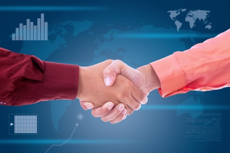 bridging the gap: Agreement between two businessmen to work together to achieve success
