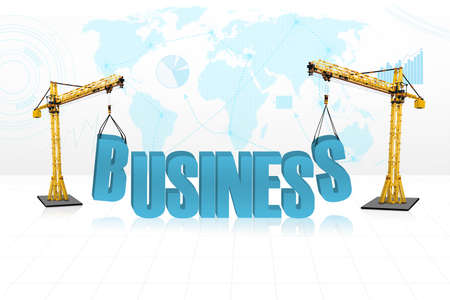 Concept of building business with two yellow tower cranes isolated on white Stock Photo - 18687110