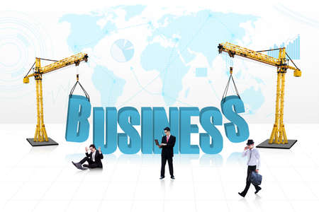 Concept of building business with business people in it , isolated on white Stock Photo - 18632471