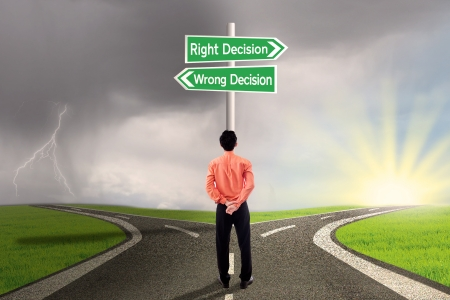 Businessman choose right or wrong decision photo