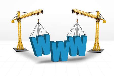 building a website: Internet building for website concept on white background