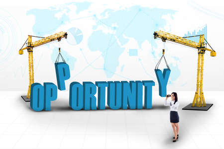 opportunity concept: Business opportunity concept with two tower cranes and businesswoman  Stock Photo