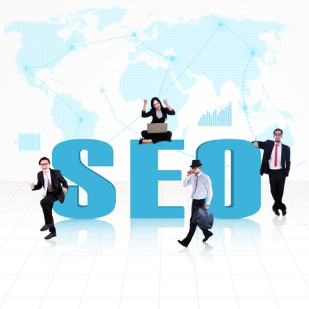 SEO symbol of Search Engine Optimization with business people surround it Stock Photo - 18843928