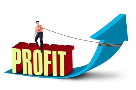 turnover: Asian businessman pulling out an up arrow while standing on the word  profit   Isolated over white