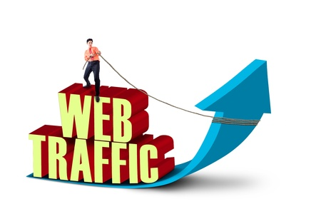 website traffic: Businessman is pulling web traffic sign on white background