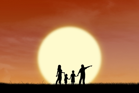 back lit: Silhouette of happy family walking on a field during sunset