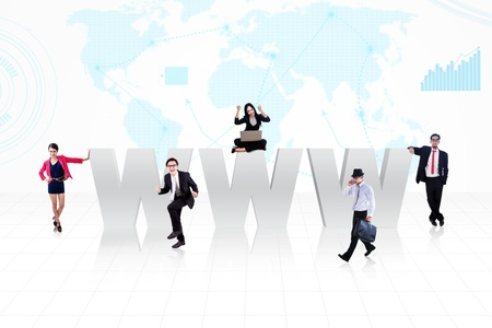 www symbol of internet with business people surrounds it on world map background Stock Photo - 18936766