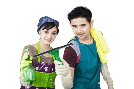 Young couple is cleaning copyspace on white background