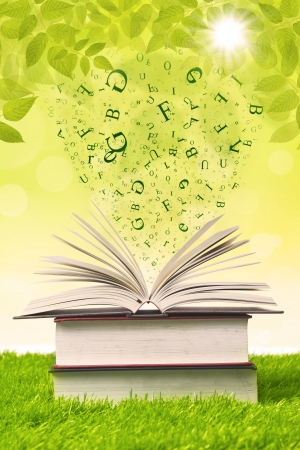 magazine stack: Stack of books with flying letters on green grass Stock Photo