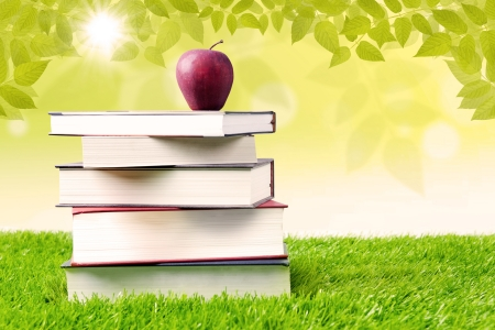 summer school: Stack of books with apple sitting on top of it in the garden Stock Photo