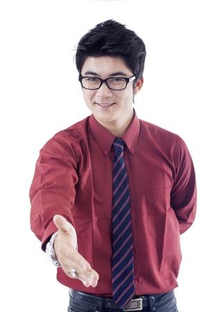 congratulate: Businessman congratulate on white background