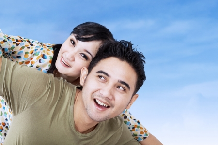 Close-up of happy couple have fun outdoor photo