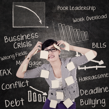 distraught: Businesswoman is stressing out due to problems and hectic schedules