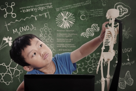 Asian kid with laptop learns human anatomy isolated on white photo