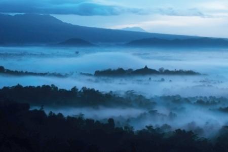jogjakarta: Beautiful sunrise at mountain in Bali Indonesia