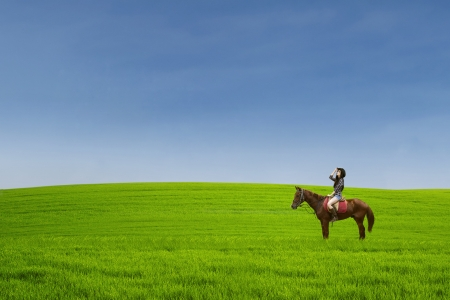 Beautiful horse rider at green field photo